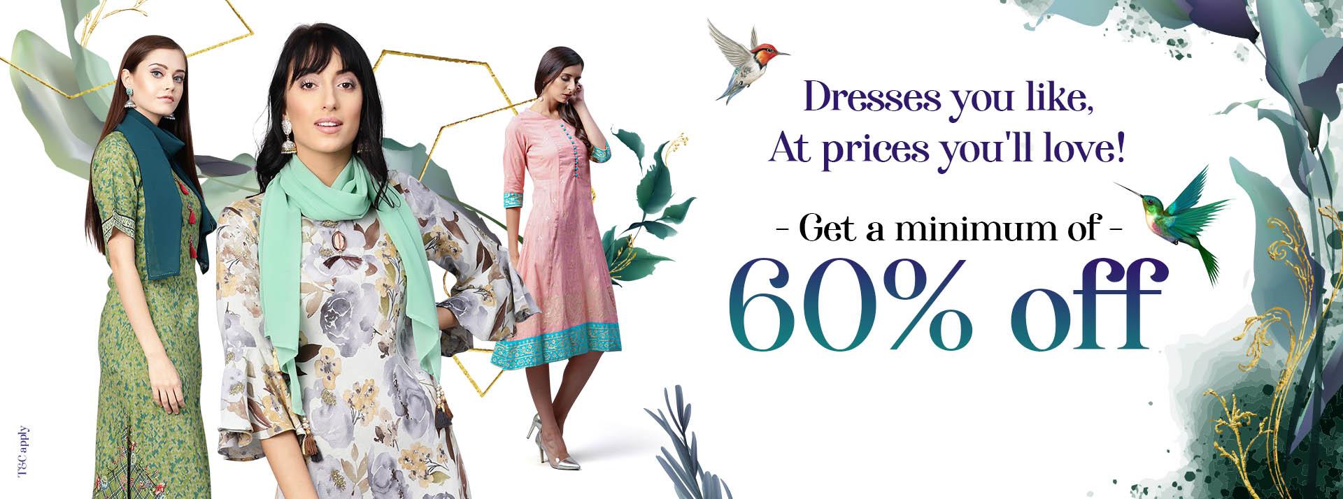 Dresses Minimum 60% OFF