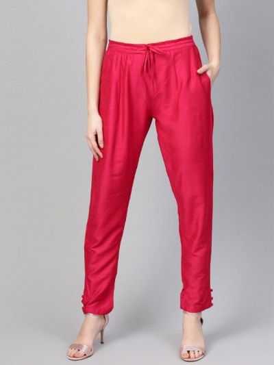 Women Pink Polysilk Solid Trouser
