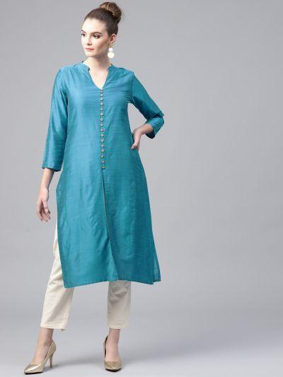 Women Turquoise Dupion Solid Kurta