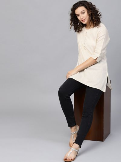 Women Off-White Flex Cotton Solid Tunic