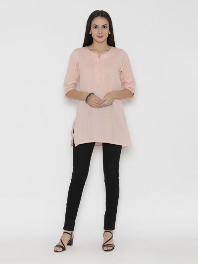 Women Peach Round Neck Solid Tunic
