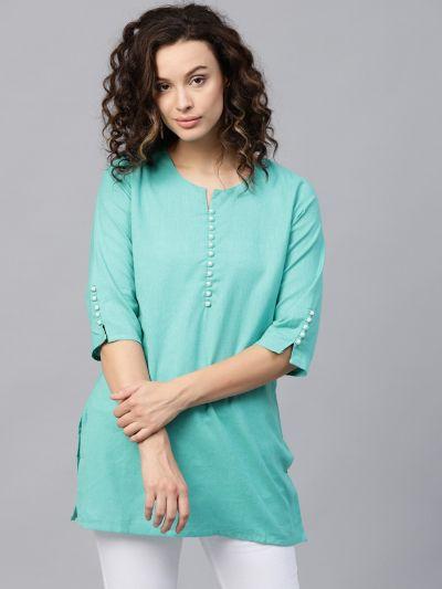 Women Rama Green Flex Cotton Solid Tunic