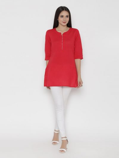 Women Red Round Neck Solid Tunic