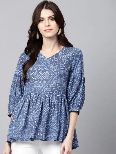 Women Blue Cotton Printed Tunic