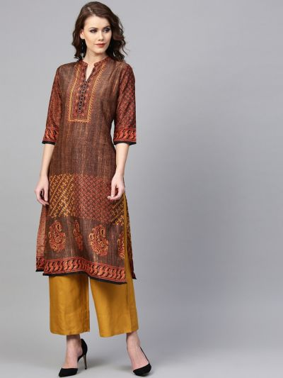 Women Brown & Mustard Kanjeevaram Silk Textured Kurta