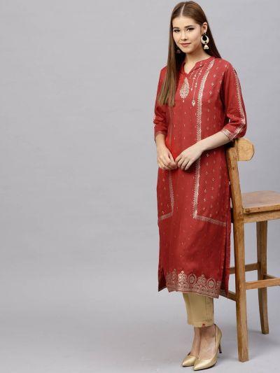 Women Tamatto Red Rayon Solid Kurta