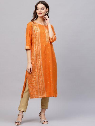 Women Orange Gold Rayon Printed Kurta