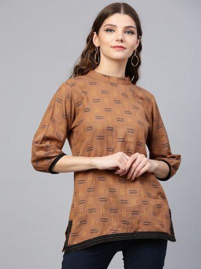 Accomplished Brown & Black Cotton Ikat Tunic
