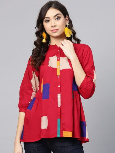 Fabulous Red Rayon Abstract Tunic