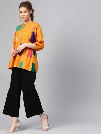 Women Yellow Rayon Abstract Tunic