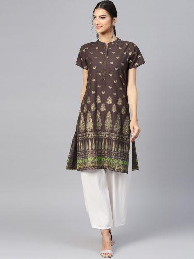 Women Brown Cotton Printed Kurta