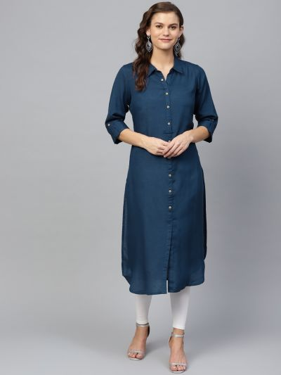 Women Navy Blue Rayon Straight Solid Kurta