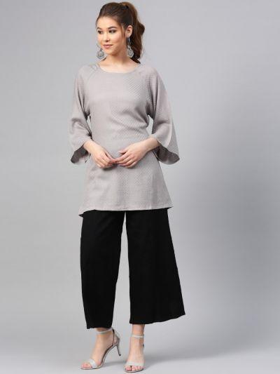 Women Grey Rayon Dobby Tunic