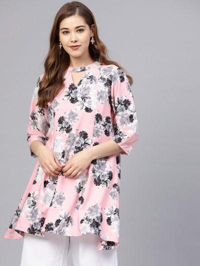 Women Baby Pink Poly Crepe Crepe Tunic