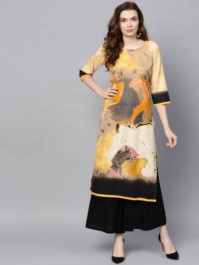 Women Mustard Rayon Textured Kurta