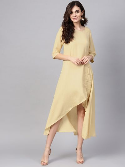 Women Cream Rayon Solid Dress