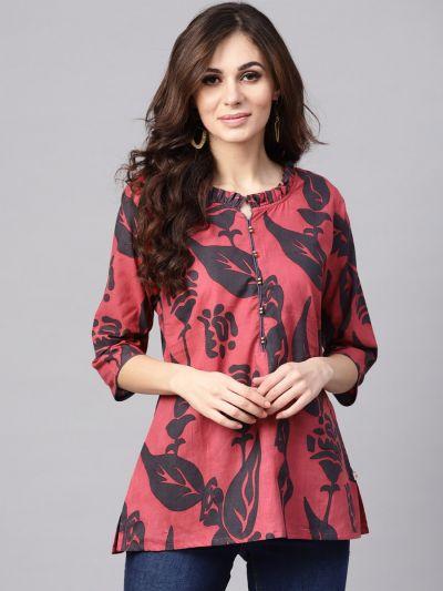 Women Pink & Grey Cotton Floral Tunic