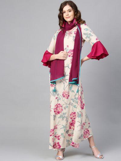 Women Off-White & Magenta Rayon Floral Dress