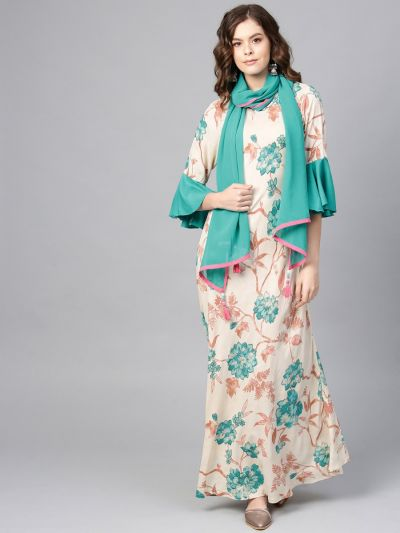 Women Off-White & Teal Rayon Floral Dress