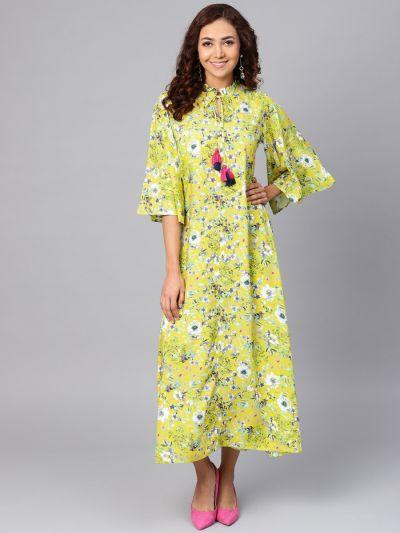 Women Lime Yellow Rayon Floral Dress