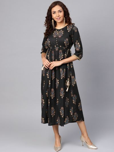 Women Black Cotton Floral Dress