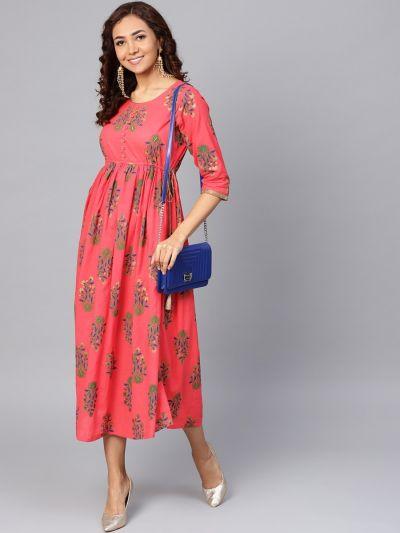 Women Coral Cotton Floral Dress
