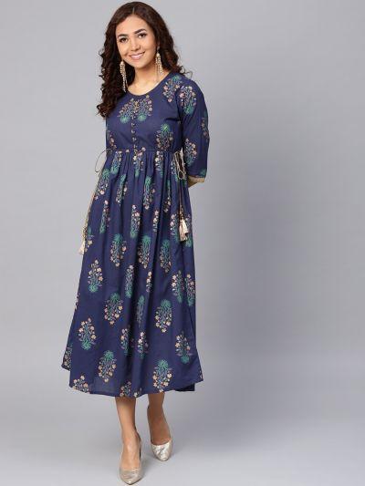 Women Navy Blue Cotton Floral Dress