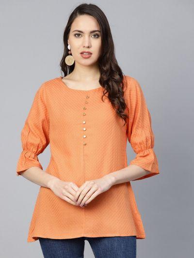 Women Orange Rayon Dobby Tunic