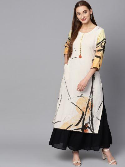 Women White & Yellow Rayon Abstract Kurta
