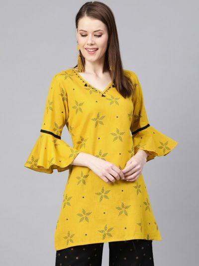 Women Yellow Cotton Floral Kurti