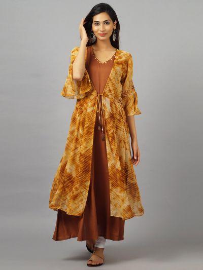 Women Mustard A-Line Dress With Jacket