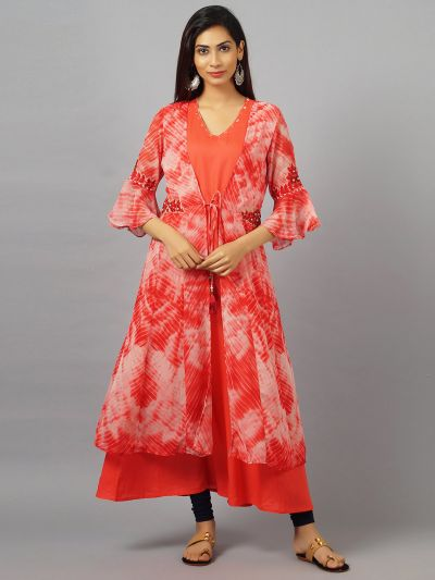 Women Red A-Line Dress With Jacket