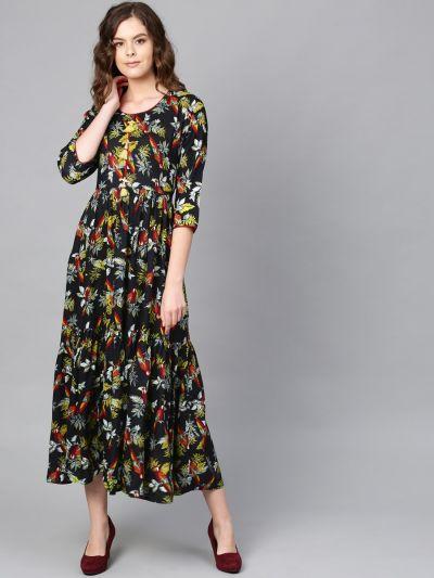 Women Round Neck Printed Black Dress