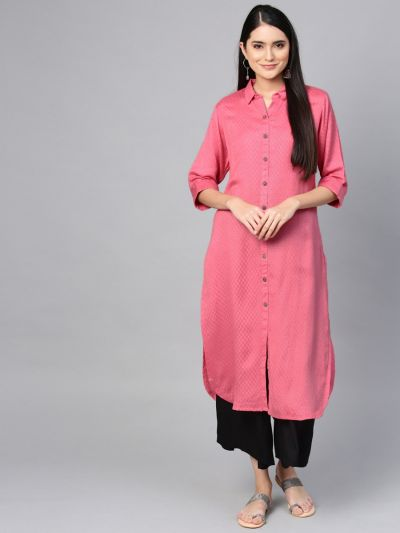 Women Pink Rayon Dobby Print Kurta