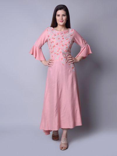 Women Pink Poly Silk Floral Dress