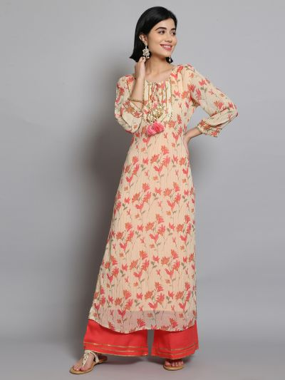 Women Light Peach & Coral Floral Printed Kurta With Palazzo