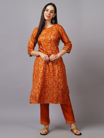 Women Orange Kurta With Trouser