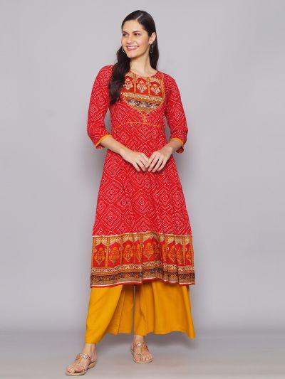 Women Red & Mustard Traditional Printed Kurta With Wide Leg