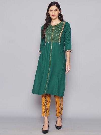 Women Dark Green & Mustard Solid Kurta With Trouser