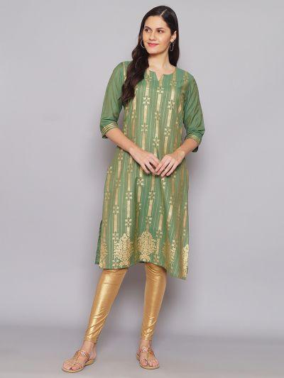 Women Green Liva Fabric Kurta