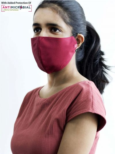 Protective Solid Maroon Face Mask
