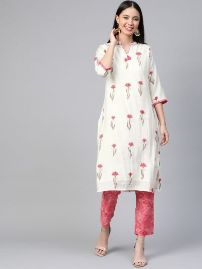 Women Off-White & Red Rayon Floral Kurta With Pant
