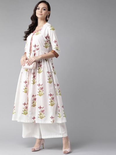 Women White & Coral Cotton Floral Kurta Jacket With Palazzo