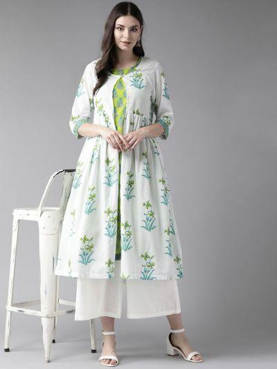 Women White & Green Cotton Floral Kurta Jacket With Palazzo