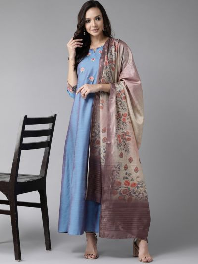 Women Blue Poly Silk Floral Dress With Dupatta