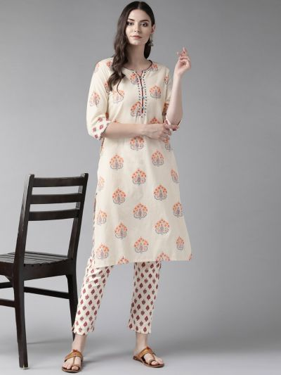 Women Off-White & Burgundy Cotton Floral Kurta With Pant