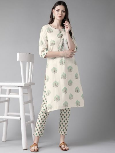 Women Off-White & Teal Cotton Floral Kurta With Pant