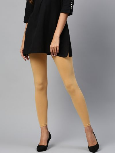 Attractive Beige Cotton Solid Ankle Length Legging