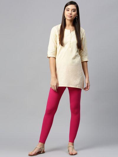 Attractive Fuschia Cotton Solid Ankle Length Legging