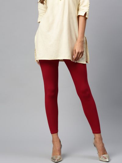 Attractive Maroon Cotton Solid Ankle Length Legging